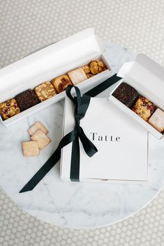 Cookie Assortment Gift Box - Large – Tatte Bakery and Cafe Brownie Packaging, Baking Packaging, Biscuits Packaging, Cake Packaging, Gift Box Packaging, Packaging Design, Cookie Gift Boxes, Cookie Gifts, Truffle Boxes
