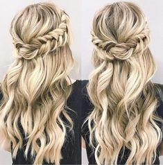 Looking for half up half down hairstyles here are stunning Beautiful braid Half up and half down hairstyle for romantic brides crown braid hairstyle If you want to see morefollow me: Pinterest:Styl