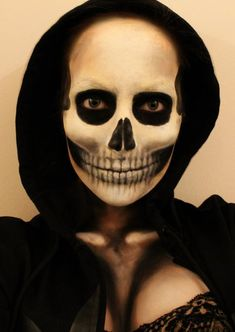 Grim Reaper Halloween Makeup. Close eyes and the area looks totally black. Cool