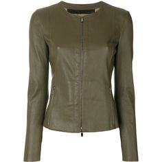 Drome classic fitted biker jacket (€1.485) ❤ liked on Polyvore featuring outerwear, jackets, green, fitted moto jacket, green motorcycle jacket, fitted jacket, biker jacket and motorcycle jacket