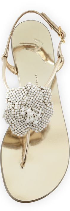 Giuseppe Zanotti Metallic Crystal Flat Sandal