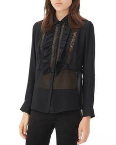 Sandro Cody Sheer Ruffle Shirt | Bloomingdale's