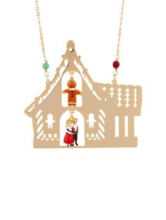 ONCE UPON A TIME HANSEL, GRETEL AND THE GINGERBREAD MAN IN THEIR HOUSE LONG NECKLACE