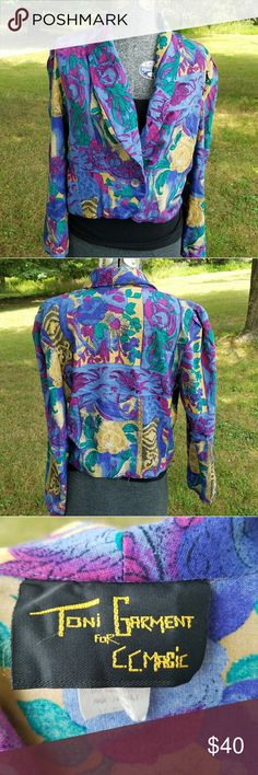 Vintage Patterned Jacket Super cool multicolor blazer/jacket/cardigan. Created either during the 80's or 90's. Material feels like rayon or a rayon blend. No rips or stains. Offers considered. No trades. Vintage Tops