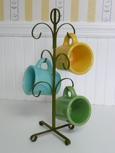 1970s Coffee Cup Mug Rack Tree Stand Olive by NewLIfeVintageRVs, $18.00