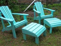 Adirondack Chair and Ottoman Made From Reclaimed por Drucycle