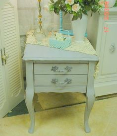 Painted Occasional Table French Grey  by EstateSaleTreasure