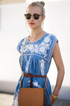 Blue & white embroidered dress by sososimps