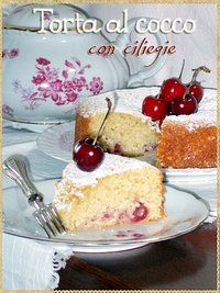 Torta al cocco con ciliegie - Coconut cake with cherries