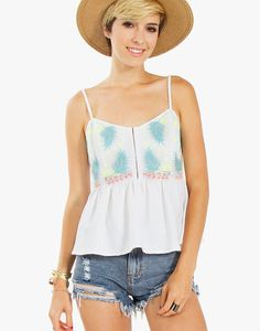 An adorable textured peplum tank with neon embroidery. Hook and eye closure. Adjustable straps. Elastic rouching on back.