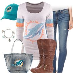 Cute Miami Dolphins Outfit for game day. I would probably wear shorts instead though. Miami Dolphins Logo, Football Season, Football Team, Miami Football, Pittsburgh Steelers, Dallas Cowboys, Nfl Fans, Peyton Manning, Fan Gear