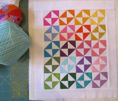 Patchwork by littleloops - love the use of all the colours. Lap Quilts, Small Quilts, Mini Quilts, Half Square Triangle Quilts, Square Quilt, Patch Quilt, Quilt Blocks, Rainbow Quilt, Pinwheel Quilt