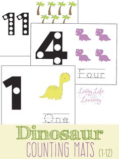 Mignon cartes dinosaure de comptage d'apprendre sur les numéros