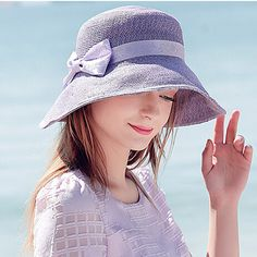 Purple straw sun hat for women with ribbon bow package beach hats