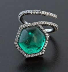 Cabochon Emerald, Diamond and Platinum Ring by James de Givenchy #Taffin…