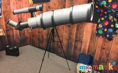 Telescope: Score painted cardboard so that it bends into graduated circles for effect. Decorate each piece with duct tape Place on Tripod Maker Fun Factory Vbs, Vacation Bible School, Duct Tape, Chart, Activities, 2017 Vbs, Projects, Prints, Tape