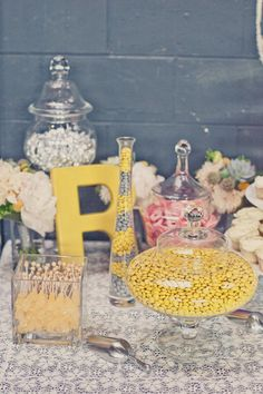 Unexpected color combination that's dynamite with candy: yellow, gray, pink, and silver