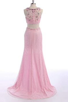 Shop discount Pink 2 Piece Mermaid Beaded Illusion Neck Long Lace Prom Dress With Spilt Front WNPD0405