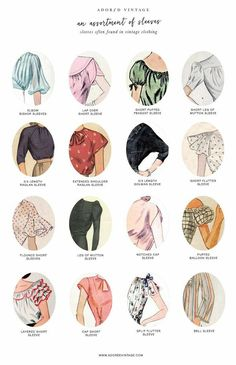 Very handy guide to vintage style sleeves in womens clothing. Vintage fashion s Vintage Outfits clothing Fashion Guide handy Sleeves Style vintage womens Women's Dresses, Vintage Dresses, Vintage Outfits, Fashion Vintage, Vintage Fashion Sketches, Vintage Blouse, 1950s Fashion, Vintage Jumper, Fashion Illustration Vintage