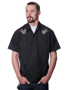 Sparrow Western Black Button Up Western Shirt by Steady  - in black