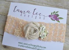 READY TO SHIP  Cream and Mint on Peach Tie by LauraLeeDesigns108