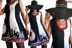 Ballade Parisienne en Robe Bicolore Noire écru soulignée de Rouge pour un Printemps Mode 2015
