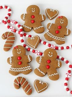 Gingerbread man, candy canes & hearts