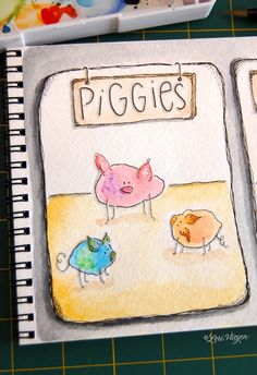 Inspiration to draw cute little pigs, chicks and such out of watercolor splotches.