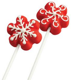 Red Hot Snowflake Pops! @Wilton Cake Decorating Cake Decorating  brought to you by dedeannasimplepleasures.blogspot.com