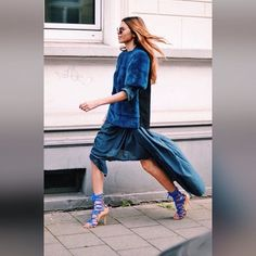 Running Towards #fall In #blue From Top To #shoes #fur #mink #sweatshirt #hilow #lacedup #streetstyle #new #newyork #furstyle #manoswartz #est1889