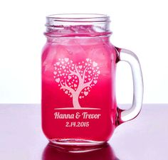Heart Tree Leaves Valentine's Gift Idea Engraved Mason Mug 16oz Personalized Wedding Glass Couples Romantic Love Tree BF GF Wedding