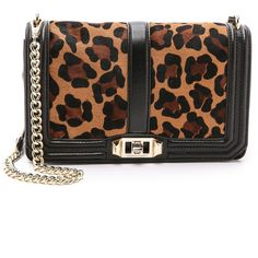 Rebecca Minkoff Love Cross Body Bag ($365) ❤ liked on Polyvore featuring bags, handbags, shoulder bags, leopard, leather shoulder bag, leather crossbody purse, leather crossbody handbags, black leather purse and black leather handbags