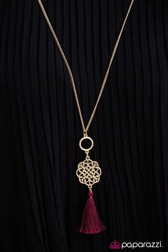 $5 Everyday on DeanasDeals.com Gold tone with burgundy tassel jewelry necklace & earrings set! Bling gifts ideas for her or treat yourself!