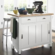 Belmont White Kitchen Island in Dining, Kitchen Storage | Crate and Barrel
