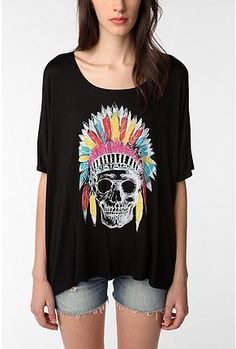 "Skull in Native American headdress. Why? Trendy. We are not a trend. Urban Outfitters is being sued by the Navajo Nation for selling 22 items listed as ""Navajo,"" making money off of their tribal name."