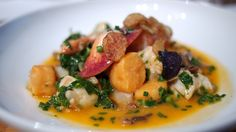 Maine Lobster Gnocchi with wild mushrooms and broccoli rabe