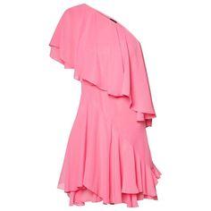CATWALK88 Rhoda Layering Short Dress (465 INR) ❤ liked on Polyvore featuring dresses, short pink dress, short dresses, layered dress, pink dress and double layer dress