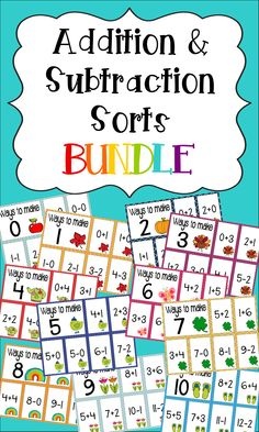 There are 11 addition and subtraction sorts included in this bundle (one for each month of the school year) in cute seasonal themes. Purchase the bundle and SAVE over 50% over buying each month individually!! $