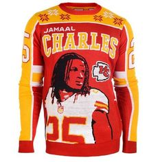 Kansas City Chiefs Jamaal Charles #25 Official NFL Player Ugly Sweater