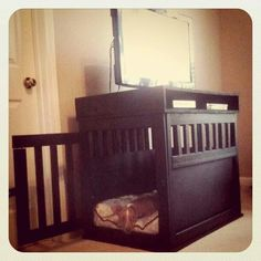 DIY dog kennel, I wonder if In could turn our old baby changing table into this?