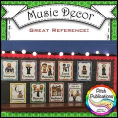 This is the cutest set!  I can't wait to decorate my elementary music classroom with this!  #elmused #musictpt #pitchpublications music class decor