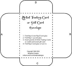 template envelope for  Artist Trading Cards (3.75 x 2.5)  or Credit-Card-Sized Gift Cards