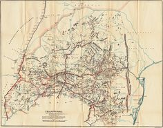 Boer War Maps - Map of the Boer Republic of Transvaal Showing Blockhouse Lines and South African Constabulary Posts with Dates of Completion. Everything Is Illuminated, War Novels, The Siege, My Family History, Treasure Maps, Historical Maps, African History, Cartography, Military History