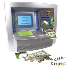 Savings Goal ATM Bank - - Product Description: Smashing your piggy bank is a thing of the past with this ATM machine that works as a personal savings bank. The large screen welcomes you Savings Bank, Savings Goal, Personal Savings, Toys For Girls, Kids Toys, Baby Toys, Atm Bank, Diy Sensory Board, Fantasias Halloween