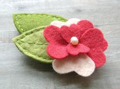 Felt Flower and Leaf Hair Clip (using heart dye)