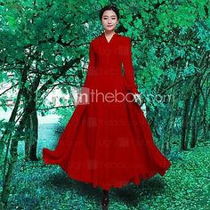 Women's Solid Red Dress , Vintage/Casual/Maxi V Neck Long Sleeve - USD $36.99