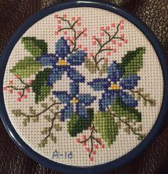 Blue flowers cross stitch