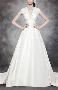 V-Neck Lace Pattern Ruched Waistband Satin Wedding Gown
