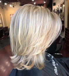 70 Brightest Medium Layered Haircuts to Light You Up - Two-Layer Feathered Blonde Cut - Medium Length Hair Cuts With Layers, Medium Hair Cuts, Short Hair Cuts, Short Hair Styles, Medium Layered Haircuts, Cute Hairstyles For Medium Hair, Bob Hairstyles, Wedding Hairstyles, Blonde Hair Styles Medium Length