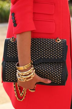 Love the red coat and Rebecca Minkoff bag